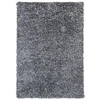 Grey Blue Shimmer Shag (4'x6') Rug