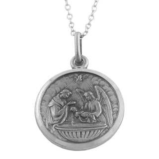 Fremada Oxidized Sterling Silver 18-mm Round Baptismal Medal Necklace