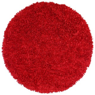 Red Shimmer Shag (5'x5') Round Rug
