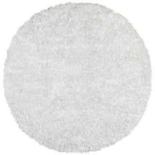 White Shimmer Shag (5'x5') Round Rug