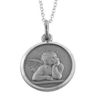 Fremada Oxidized Sterling Silver 18-mm Round Angel Medal Necklace