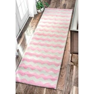 nuLOOM Geometric Chevron Kids Pink Runner Rug (2'6 x 8')