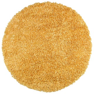 Yellow Shimmer Shag (3'x3') Round Rug