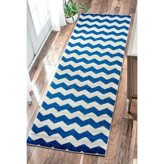 nuLOOM Geometric Chevron Kids Navy Runner Rug (2'6 x 8')
