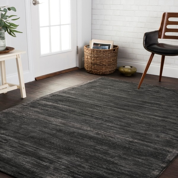 "Traditional Distressed Dark Grey Abstract Rug - 9'2"" x 12'2"""