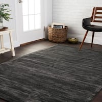 Traditional Distressed Dark Grey Abstract Rug - 5' x 7'6
