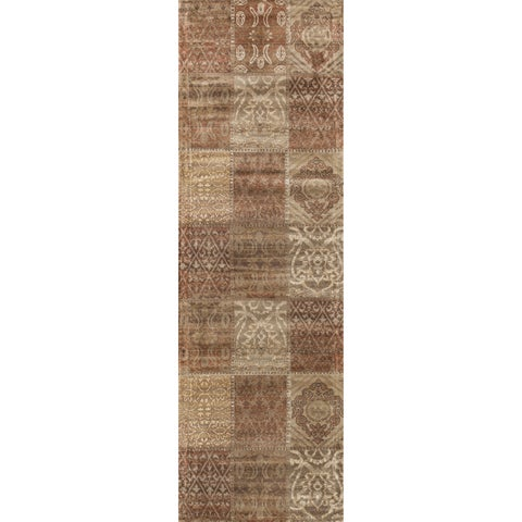 Traditional Distressed Rust/ Beige Patchwork Runner Rug - 2'4 x 7'9