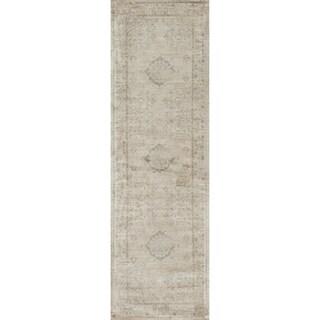 Francis Beige/ Blue Runner Rug (2'4 x 7'9)