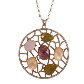 Luxiro Sterling Silver Rose Gold Finish Cubic Zirconia and Gemstone Circle Pendant Necklace