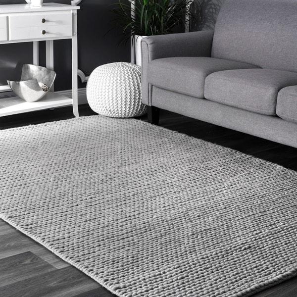 Nuloom Handmade Casual Braided Wool Grey Rug 8 X27