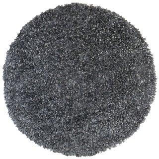 Grey Blue Shimmer Shag (2'x2') Round Rug