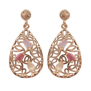 Luxiro Rose Gold Finish Sterling Silver Gemstone Filigree Teardrop Earrings