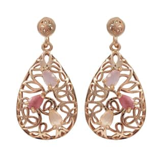 Luxiro Rose Gold Finish Sterling Silver Gemstone Filigree Teardrop Earrings|https://ak1.ostkcdn.com/images/products/10708027/P17767367.jpg?impolicy=medium
