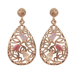 Luxiro Rose Gold Finish Sterling Silver Gemstone Filigree Teardrop Earrings - Pink