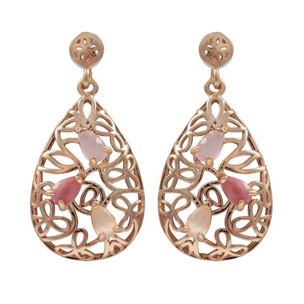 Luxiro Rose Gold Finish Sterling Silver Gemstone Filigree Teardrop Earrings