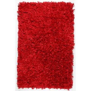 "Red Shimmer Shag (21""x34"") Rug"