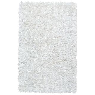 """White Shimmer Shag (21""""x34"""") Rug"""