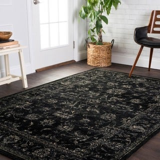 "Traditional Distressed Black/ Grey Floral Rug - 9'2"" x 12'2"""
