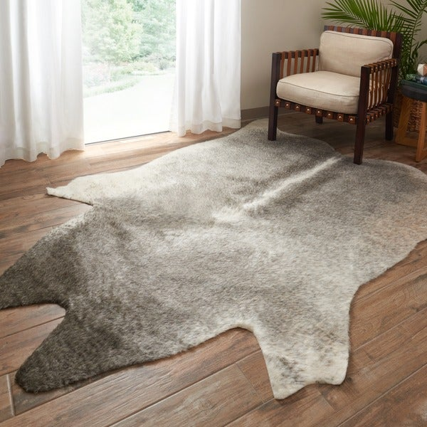 Shop Faux Cowhide Grey Ivory Area Rug 6 2 X 8 On