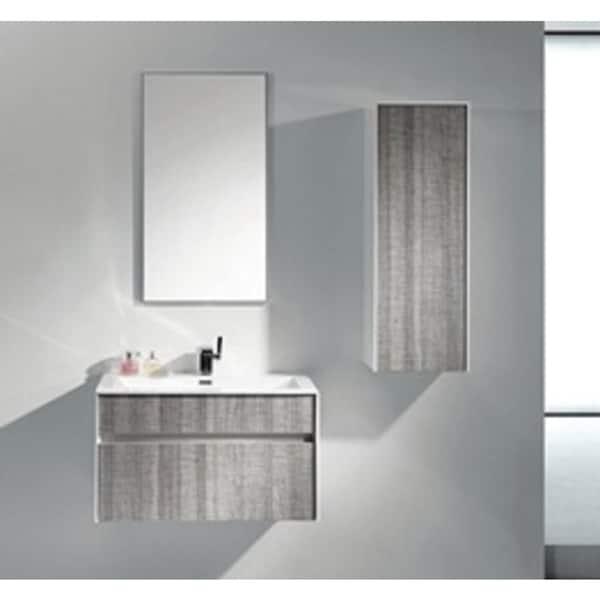 Eviva Ashy 36 Wall Mount Modern Bathroom Vanity Set High Gloss Ash Gray Grey