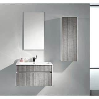 "Eviva Ashy 36"" Wall Mount Modern Bathroom Vanity Set High Gloss Ash Gray (Grey) with White Integrated Sink"