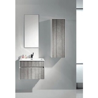 Eviva Ashy 24-inch Wall Mount Modern Bathroom Vanity Set High Gloss Ash Grey with White Integrated Sink