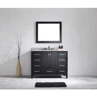 Eviva Aberdeen 48 Transitional Espresso Bathroom Vanity with White Carrera Countertop