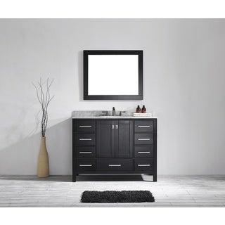 Eviva Aberdeen 48 Transitional Espresso Bathroom Vanity with White Carrera Countertop