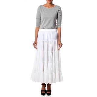 Handmade Cotton Frilly White Skirt (India)