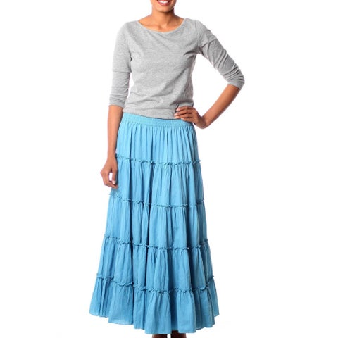 Handmade Cotton 'Sky Blue Frills' Skirt (India)