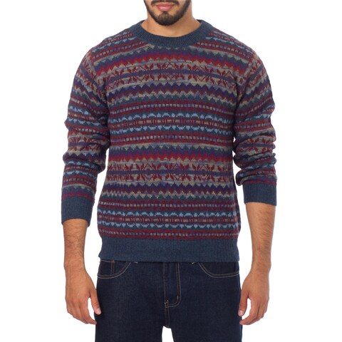 Handmade Men' Alpaca 'Colca Blue' Sweater (Peru)