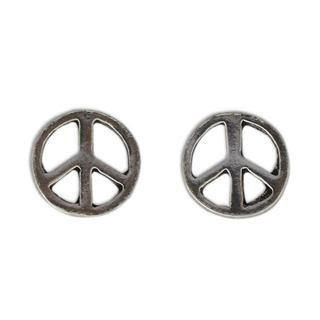 Handcrafted Sterling Silver 'Peace Sign' Earrings (Thailand)