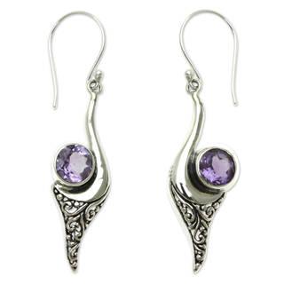 Handmade Sterling Silver 'Treasure' Amethyst Earrings (Indonesia)
