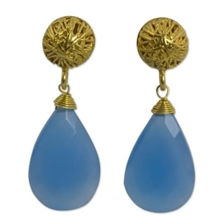 Gold Overlay 'Blue Serenade' Chalcedony Earrings (Thailand)
