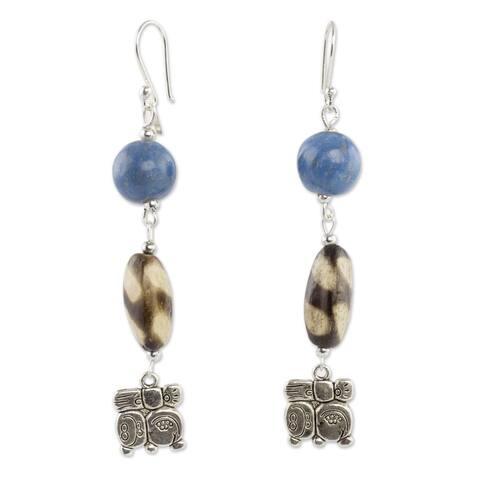 Handmade Sterling Silver Ceramic 'Nahual Destiny' Dangle Earrings (Honduras)