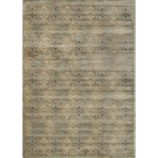 "Traditional Distressed Taupe/ Gold Damask Rug - 9'2"" x 12'2"""