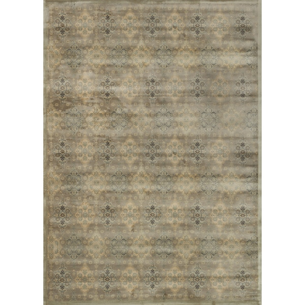 Damask Taupe Rug: Shop Traditional Distressed Taupe/ Gold Damask Rug