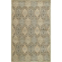 Traditional Distressed Taupe/ Gold Damask Rug - 5' x 7'6