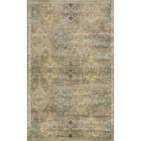 Traditional Distressed Taupe/ Gold Damask Rug - 3'3 x 5'3