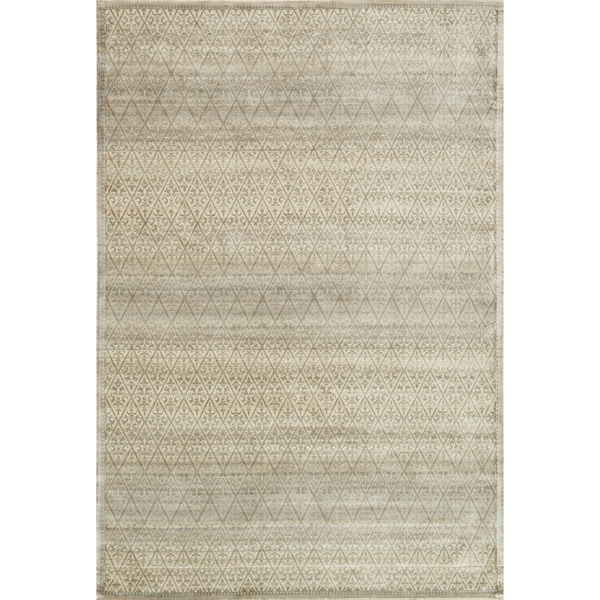 "Traditional Distressed Light Gold/ Grey Damask Rug - 9'2"" x 12'2"""