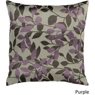 Decorative Skegness 18-inch Leaves Poly or Down Filled Pillow (Option: Purple)