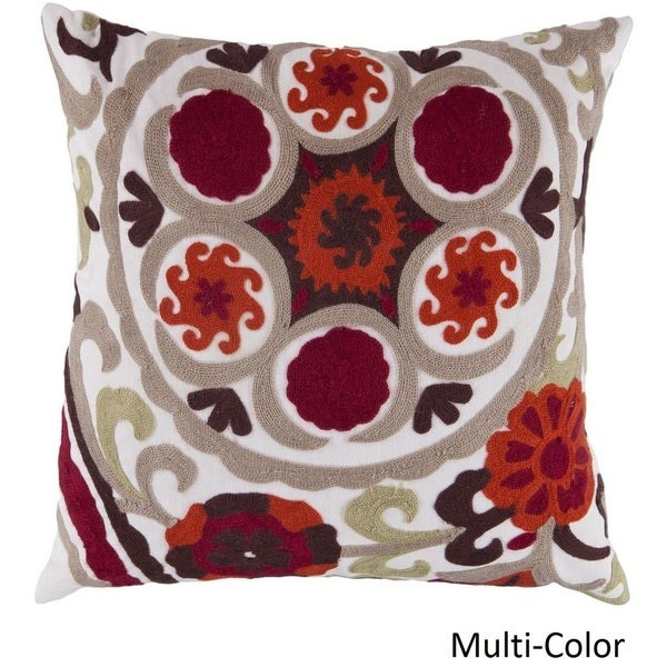 Decorative Sidmouth 18-inch Embroidered Poly or Feather Down Filled Pillow