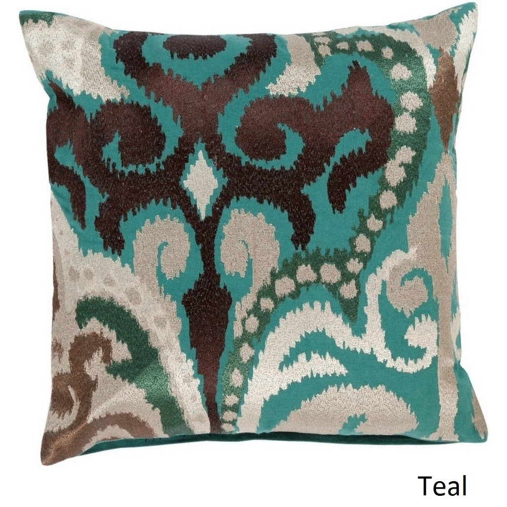 Shop Decorative Penzance 18-inch Flourish Ikat Poly or Feather Down Filled Pillow - 10708191