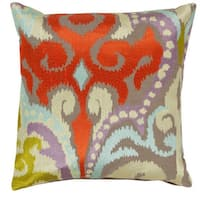 Decorative Penzance 18-inch Flourish Ikat Poly or Feather Down Filled Pillow