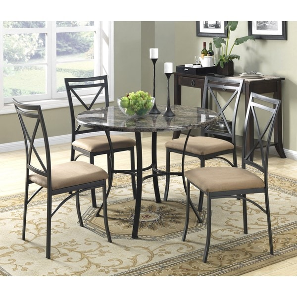Dorel Living 5 Piece Faux Marble Top Dining Set Free Shipping Today Overs