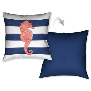Laural Home Nautical Stripe Seahorse Decorative 18-inch Throw Pillow