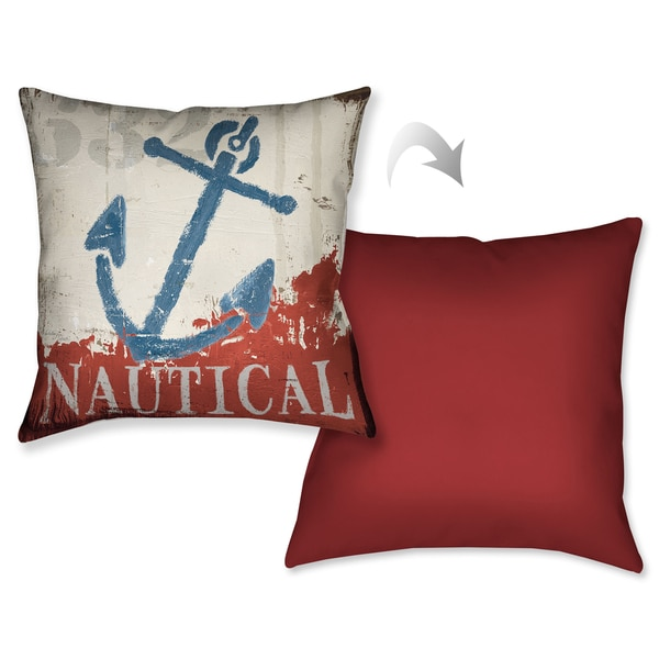 Laural Home Nautical Anchor Decorative 18-inch Throw Pillow