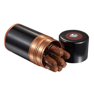 Visol Big Joe 7-cigar Travel/Desk Humidor - Black with Copper Trim