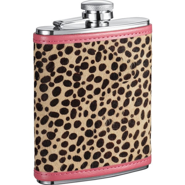 Visol Cheetah X Pink & Cheetah Pattern Liquor Flask - 6 ounces
