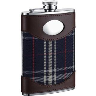 Visol Preston Leather & Navy Plaid Liquor Flask - 8 ounces
